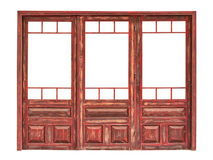 Wooden glazed panel of a store front isolated. A store front of wooden glazed doors isolated on white background royalty free stock photos