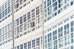 Wooden glazed windows in A Coruna, Galicia, Spain. Stock Photography