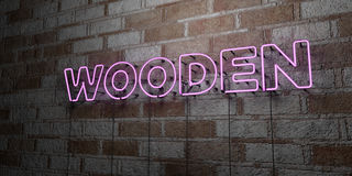 WOODEN - Glowing Neon Sign on stonework wall - 3D rendered royalty free stock illustration Royalty Free Stock Image