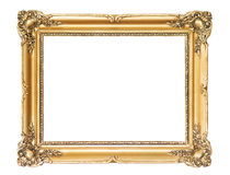 Wooden gold frame. Retro revival gold frame isolated with clipping path included Stock Photography