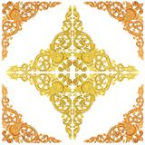 Wooden gold paint decorative  of flower carved Pattern frame on Stock Photos