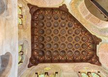 Wooden golden ornate ceiling Stock Image