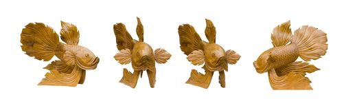 Wooden goldfish For home decoration isolated. On white background Royalty Free Stock Photos