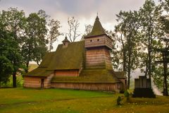 Wooden gothic church of St. Martin in Grywald, Poland. Historical monument of wooden architecture Royalty Free Stock Photography