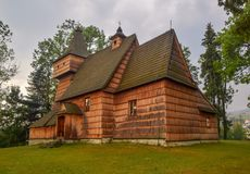 Wooden gothic church of St. Martin in Grywald, Poland. Historical monument of wooden architecture Stock Photos