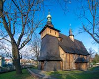 Wooden gothic church of St. Mary in Tarnow, Poland. Wooden gothic church of St. Mary in Tarnow at sunny day royalty free stock photos