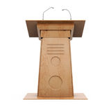Wooden grandstand frontal view on white background. 3d vector illustration