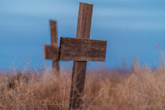 Wooden Grave. A wooden cross marks the spot for a shallow grave Royalty Free Stock Images