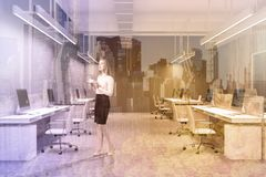 Wooden and gray office interior, woman Stock Photos