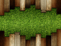 Wooden on green artificial turf pattern Royalty Free Stock Photos