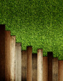 Wooden on green artificial turf pattern Stock Photography