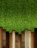 Wooden on green artificial turf pattern Royalty Free Stock Photography