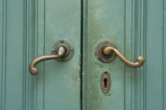 Wooden green door Royalty Free Stock Photo
