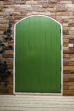 The wooden green door Stock Photos