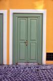 Wooden green door Royalty Free Stock Photos