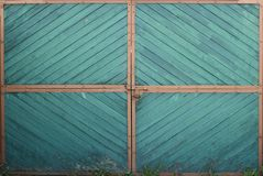Wooden green gate door with orange corners and grass on a ground. stock photography