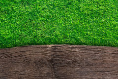 Wooden with green grass Royalty Free Stock Images