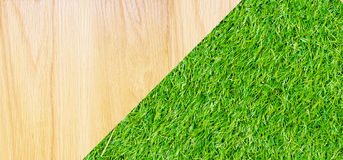 Wooden with green grass background Stock Image