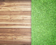 Wooden with green grass background Stock Photo