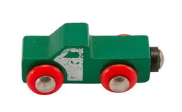 Wooden green retro toy car isolated on white Royalty Free Stock Photography