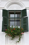 Wooden green window shutters on rural house Royalty Free Stock Photo