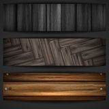 Wooden grey banner. Stock Image