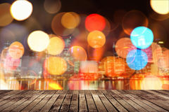 Wooden ground with city Stock Photography