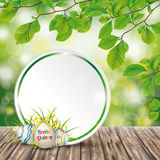 Wooden Ground Easter Eggs Ostern Emblem Green Nature. German text Frohe Ostern, translate Happy Easter Royalty Free Stock Photo