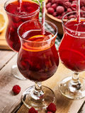 On wooden are group ice cold beverage glass with berries . Stock Image