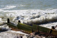 Wooden Groyne. Wooden sea defence on the English coast royalty free stock photography
