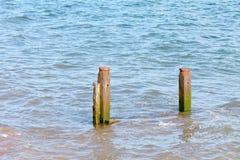 Wooden groyne on beach Stock Images
