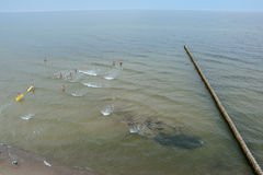 Wooden groyne and people bathing in the sea in Trzesacz, Poland. Royalty Free Stock Photos