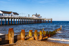 Wooden Groynes and Pier at Southwold Beach, UK Royalty Free Stock Photo