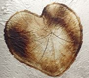 Wooden grunge heart texture imposed on a background of white ven Royalty Free Stock Photography