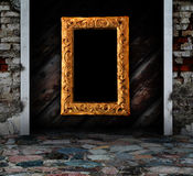 Wooden grunge interior with modern frame Stock Images