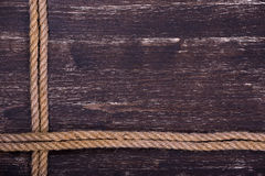 Wooden grunge texture with rope Stock Photos
