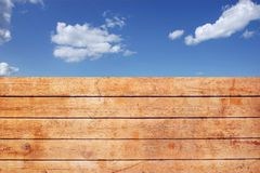 Wooden Grungy Fence and cloudy sky, XXXL Backgrond Stock Photos