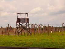 Wooden guard tower in concentration camp Royalty Free Stock Photography
