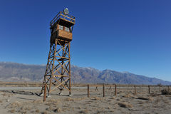 Wooden guard tower in desert by mountains Stock Images