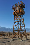 Wooden guard tower in desert by mountains Stock Photo