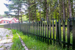 Wooden guardrail. In the forest Royalty Free Stock Photography