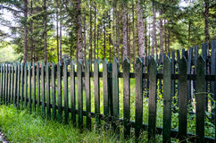 Wooden guardrail. In the forest Stock Images