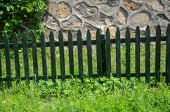Wooden guardrail. In the forest Stock Photo