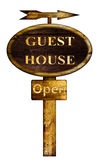 Wooden Guest house sign. Stock Image