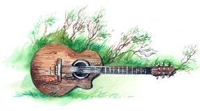 Wooden guitar. Natural wooden guitar (series C Royalty Free Stock Photos