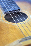 Wooden guitar closeup Stock Photos