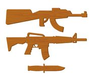 Wooden gun kids set. Board weapons and knife. Childrens military Royalty Free Stock Images