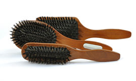 Wooden hairbrush. For extention hairs Royalty Free Stock Photo