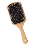 Wooden hairbrush isolated Stock Photo