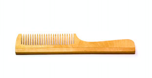 Wooden Hairbrush isolated on white Stock Image